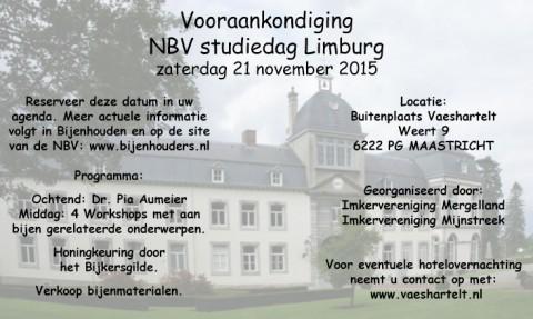 Vooraankondiging NBV studiedag Limburg – zaterdag 21 november 2015
